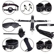 10 pcs - Bondage Bed Love Cuff Set, Comfortable Bed Restraints System, Role-playing Bondage Kit with Bracelets for adult games (Black)
