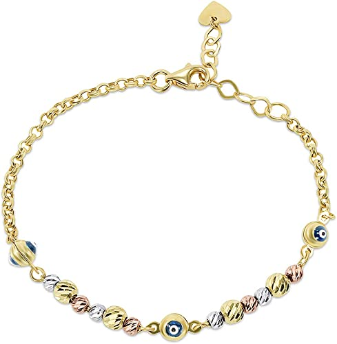 Real Solid 14K Tri Tone Gold Good Luck Beads Bracelet Chain 8/'/' Ladies Women