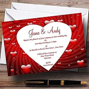 amazon com 10 x deep red romantic love hearts customized wedding