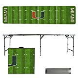 NCAA Miami Hurricanes Football Field Version Portable Folding Tailgate Table, 8'
