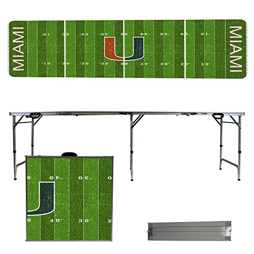 NCAA Miami Hurricanes Football Field Version Portable Folding Tailgate Table, 8' by Victory Tailgate
