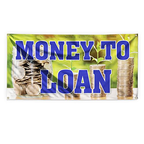 Money To Loan #8 Outdoor Advertising Printing Vinyl Banner Sign With Grommets - 4ftx8ft, 8 Grommets by Sign Destination