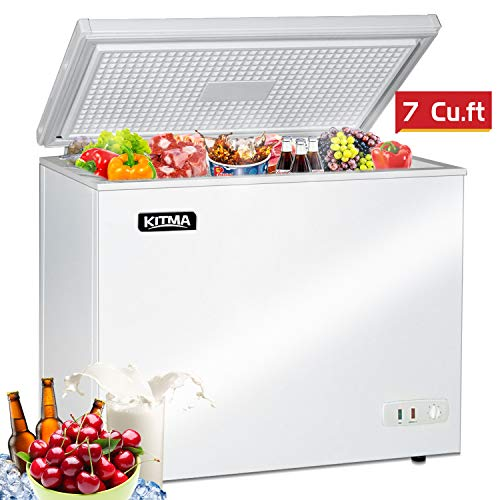 Commercial Top Chest Freezer – Kitma 7 Cu. Ft Deep Ice Cream Freezer with Adjustable Thermostat, Rollers, Solid Door,White