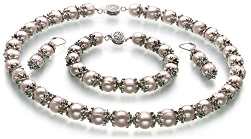 PearlsOnly - MarieAnt White 8-9mm A Quality Freshwater Cultured Pearl Set