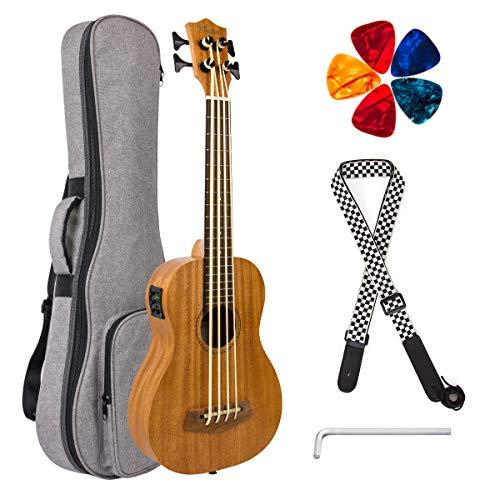 Electric Ubass Acoustic Bass Ukulele 30 inch Mahogany With Gig Bag Strap Picks Wrench By Kmise