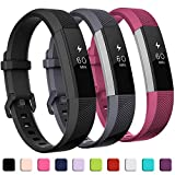 GEAK Bands Compatible with Fitbit Alta and Fitbit Alta HR, 3 Pack Soft Silicone Wristbands for Fitbit Alta HR Bands with Secure Metal Buckle for Men Women,Small Large