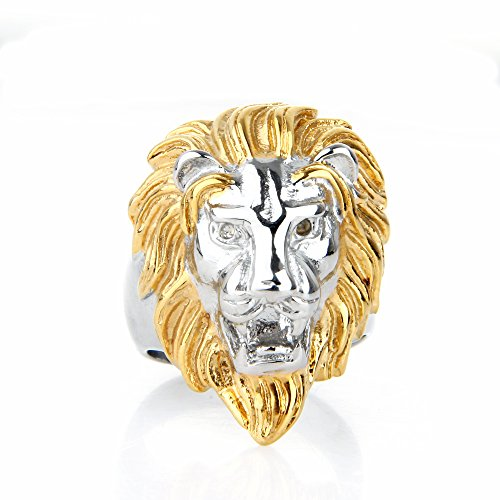 COPAUL Jewelry Mens Stainless Steel Rings,Animal Lion Style