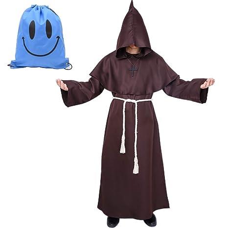 Disfraz de Monje Sacerdote Túnica Medieval Renacimiento Traje con Cruz para Halloween Carnaval (XXL, Marrón)