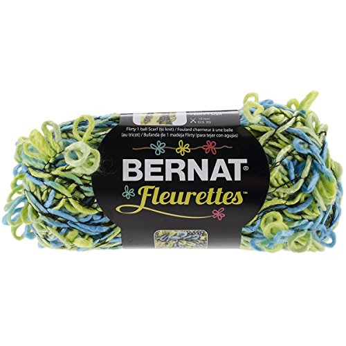 Bernat Fleurettes Yarn. Lime Rickey (Shades of Blue and Green)