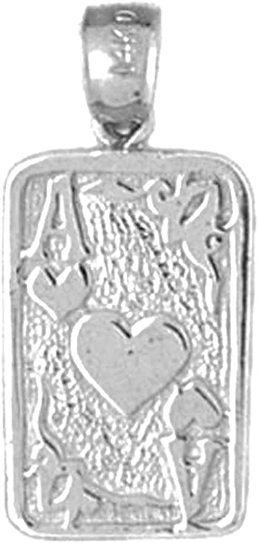 24 mm Sterling Silver 925 Playing Cards Ace Of Hearts Pendant Ace Of Hearts Pendant Jewels Obsession Playing Cards