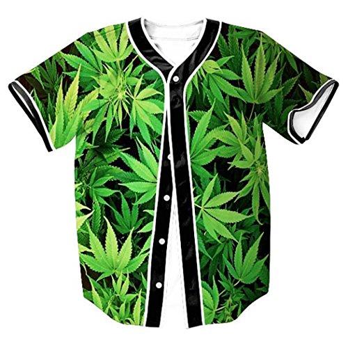 - HOP FASHION Youth Unisex Hipster Baseball Basketball Football Jersey Short Sleeve 3D Green Leaves Print Dance Team Uniform Button Down Cardigan Shirt HOPM007-57-XL