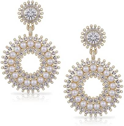Gold Earring Open Circle Drop Earrings Rhinestone Crystals & Pearl Earring Large Art Deco Earring
