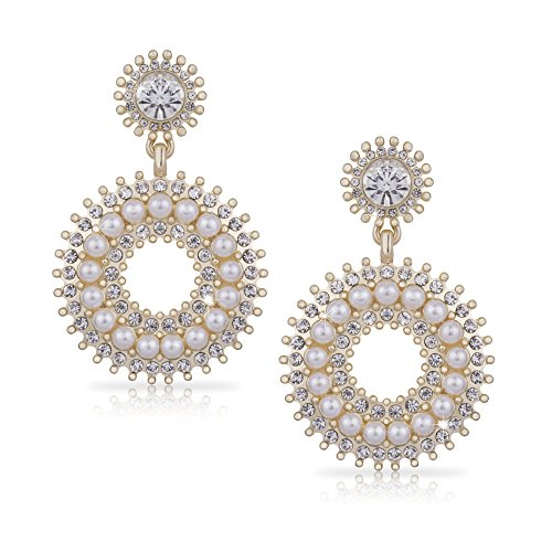 Gold Earring Open Circle Drop Earrings Rhinestone Crystals & Pearl Earring Large Art Deco ()