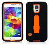 Galaxy S5 Case, MagicMobile Hard Hybrid Tough Protective Case for Galaxy S5 Armor Impact Shockproof Silicone with kickstand [Stand] Heavy Duty Case For Samsung Galaxy S5 Dual Layer (Black - Orange)