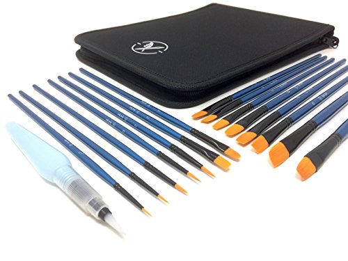 Heart Nuvo's 15+1 Artist Paintbrush Set With Case - Assorted Nylon Brushes and Water Brush for Watercolor Painting, Acrylic Painting, and Oil Painting - The Fine Touch Easel Box Set