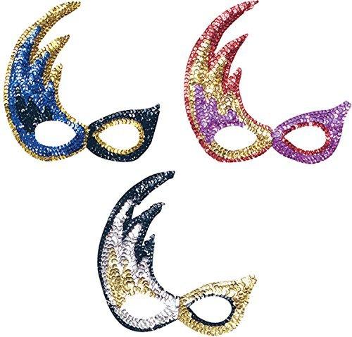 Silver Gold & Black Sequin Flame Eyemask! Masquerade by Bristol (Silver Sequin Eyemask)