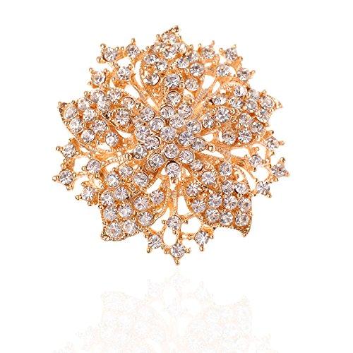 (Tagoo Womens Vintage Multicolor Alloy Bridal Flower Brooch Corsage in Crystal for Wedding Girls (Gold 1.97