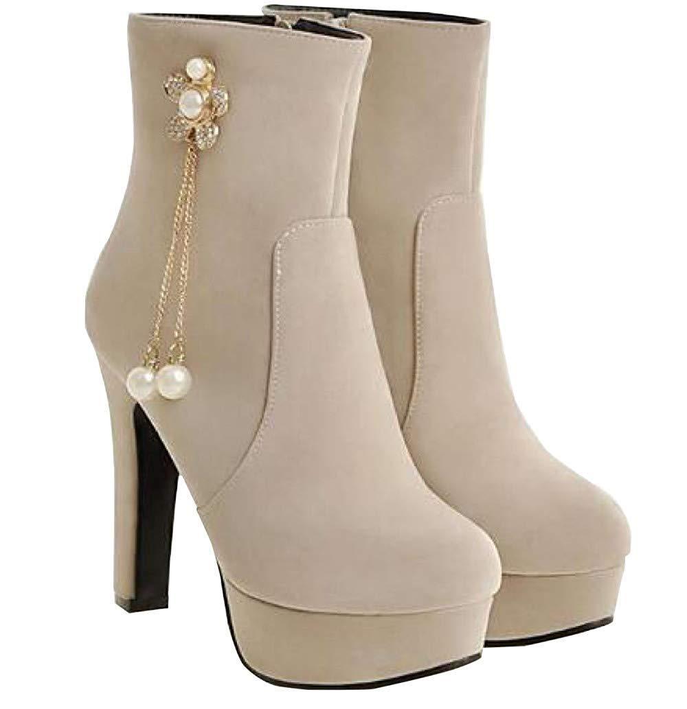 Herbst Und Winter Winter Winter Stiefel Mit Seitlichem Reißverschluss Und Hohen Absätzen Aus Leder (Farbe   3, Größe   39EU) 05c8c8