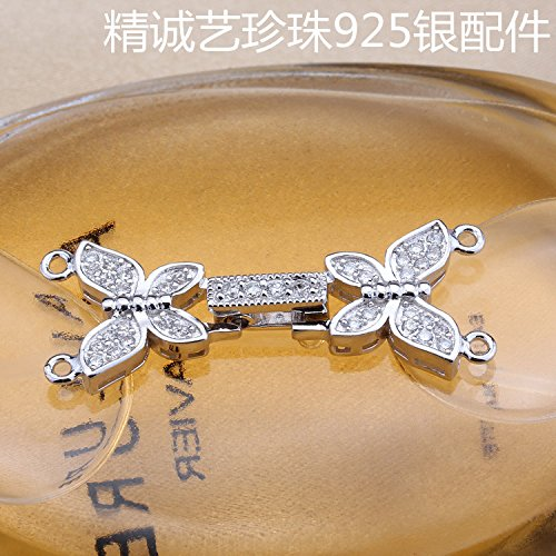 usongs DIY only pearl accessories 925 silver rhodium-plated butterfly necklace pendant clasp bracelet clasp multi-row double-breasted