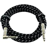 GLS Audio 20 Foot Guitar Instrument Cable - Right Angle 1/4-Inch TS to Straight 1/4-Inch TS 20 FT...