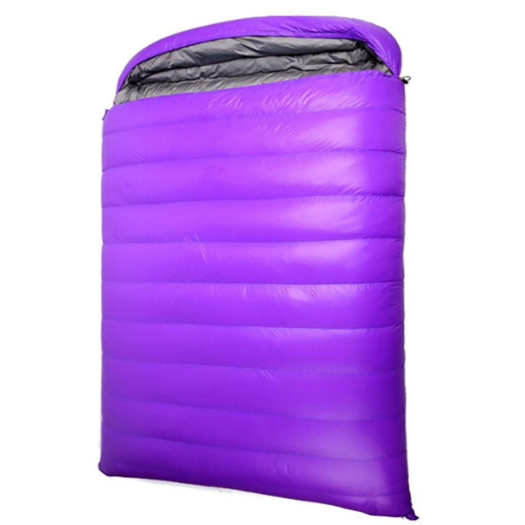 ダブルスリーピングバッグ、暖かい、3シーズン、軽量、屋外キャンプ (色 : Purple) B07FL7ZW7X  Purple