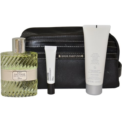 Eau Sauvage Men Eau-de-toilette Spray, Shower Gel, 0.33Oz Repairing Moisturizing Emulsion, Bag by Christian Dior