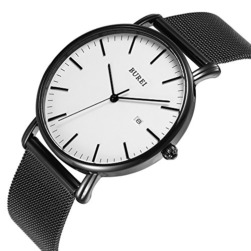 BUREI Men's Fashion Minimalist Wrist Watch Analog Deep Gray Date with Black Milanese Mesh Band (White)