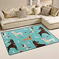 LORVIES Cute Dogs Pattern Area Rug Carpet Non-Slip Floor Mat Doormats for Living Room Bedroom 60 x 39 inches