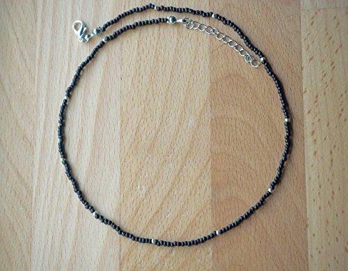 Black Choker Necklace, Dainty Choker Necklace, Beaded Choker necklace, Handmade Seed bead choker, Sterling Silver Necklace, Minimalist Thin Choker (Beaded Handmade Necklace)