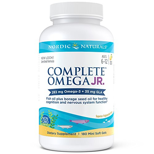 Nordic Naturals – Complete Omega Junior, Promotes Brain, Bone, and Nervous and Immune System Health, 180 Soft Gels