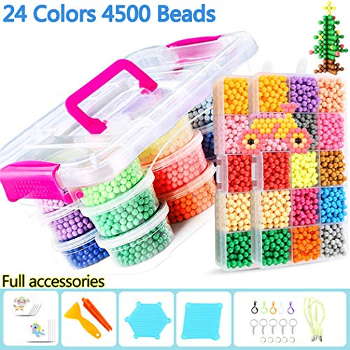 - B bangcool Fuse Beads, 24 Colors 4500 Beads Refill Compatible with Fuse Beads Kit Magic Water Sticky Beads Toys for Kids Beginners (4500 Beads Complete Set) (4500 PCS Beads)