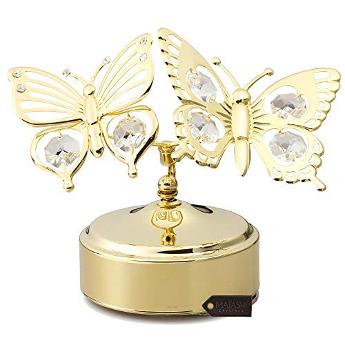 24k Double Crystal Gold Plated - Matashi 24K Gold Plated Music Box with Crystal Studded Double Butterfly Figurine, Best Gift for Valentine's Day, Birthday, Mother's Day, Christmas, Anniversary