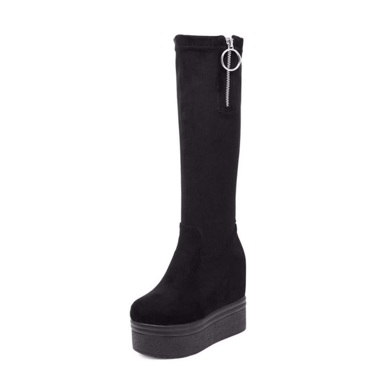 LBTSQ Damenschuhe Die Innere Größe Dicke Sohle Heel 12 cm Hohe Stiefel Steigung Schuft Aber Das Knie Stiefel