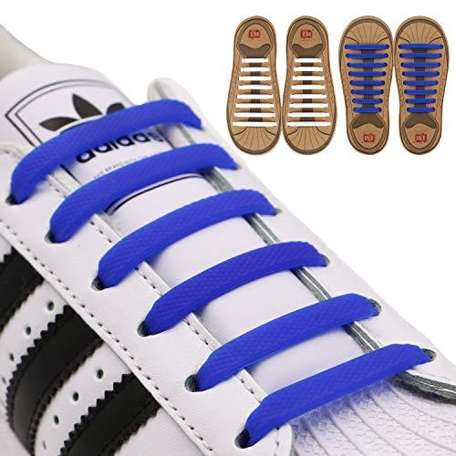 inmaker atar agujetas de zapatos para niños y adultos, pack de 2, cordones para zapatillas, de silicona elástica plana...