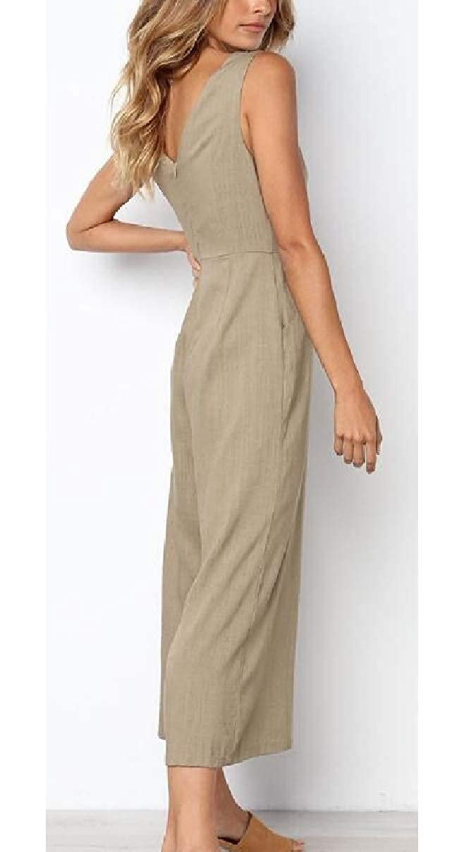 ZXFHZS Womens Casual Solid V Neck Sleeveless Wide Leg Loose Romper Jumpsuit