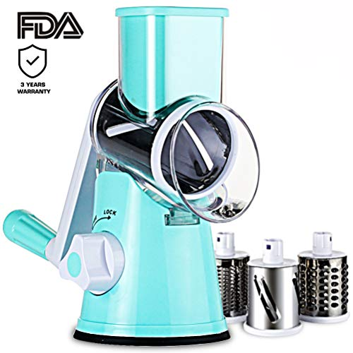 SLC Swift Rotary Drum Grater Vegetable Cheese Cutter Slicer Shredder Grinder with 3 Interchanging Ultra Sharp Cylinders Stainless Steel Drums ()
