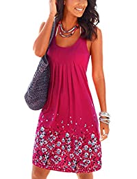 Vosujotis Womens Floral Dress Casual Pleated Loose Summer Dresses