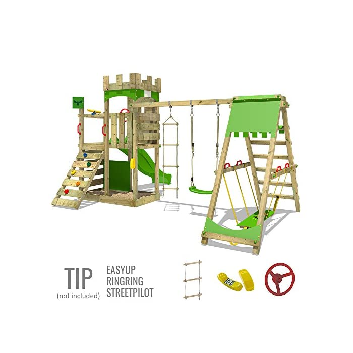 51VS5gmk8PL FATMOOSE Torre de escalada con SurfSwing, columpio doble y plataforma de juego grande - Calidad-y- seguridad verificadas Madera maciza impregnada en clave, de fácil mantenimiento - Viga de columpio de 9x9cm y postes verticales de 7x7cm Instrucciones de montaje detalladas para un montaje fácil - Cajón de arena integrado XXL - Plataforma 120cm