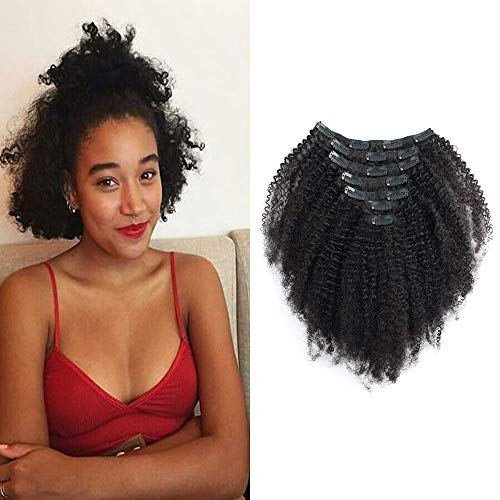 HIKYUU 8 African Americans Kinkys Curly Hair Extensions Clip in 4c for Beautiful Black Women 60g 7pcs Short Curly Clip in Hair Extensions Human Hair