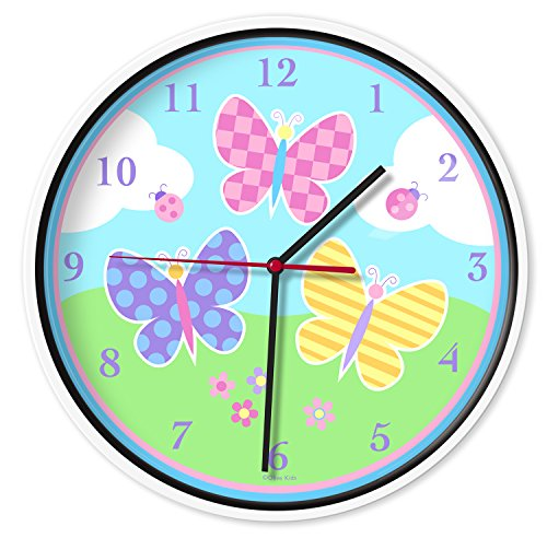 (Wildkin Wall Clock, Features Silent Quartz Movement and Durable Plastic Case and Glass Cover, Perfect for Teaching Kids How to Tell Time, Olive Kids Design - Butterfly Garden)