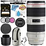 Canon EF 70-200mm f/2.8L IS II USM Lens 2751B002 + 77mm 3 Piece Filter Kit + 64GB SDXC Card + Lens Pen Cleaner + Fibercloth + Lens Capkeeper + Deluxe 70 Monopod + Deluxe Cleaning Kit Bundle
