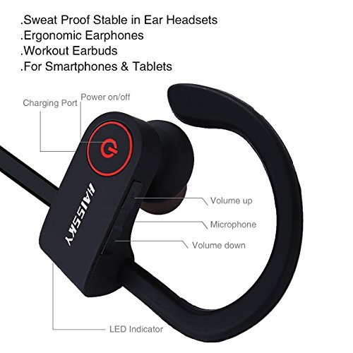 haissky s8 sport wireless bluetooth headphones noise cancelling soft silicone earhooks loud. Black Bedroom Furniture Sets. Home Design Ideas