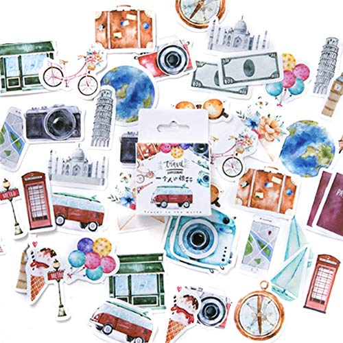 xxiaoTHAWxe 45Pcs/Box DIY Deco Rative Cute Love Travel Stickers Theme Diary Scrapbook School Stationery