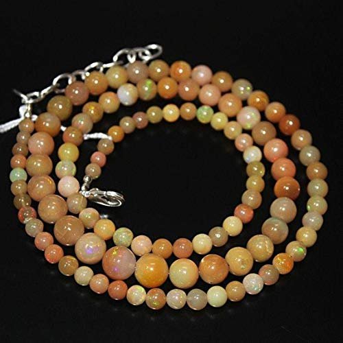 Ethiopian Welo Fire Opal Smooth Round Ball Gemstone Craft Loose Beads Necklace 21'' 4mm 8mm by Gemswholesale