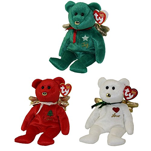 - TY Beanie Babies - SET OF 3 GIFT BEARS (Red, White & Green)(Hallmark Gold Crown Exclusives)(8 inch)