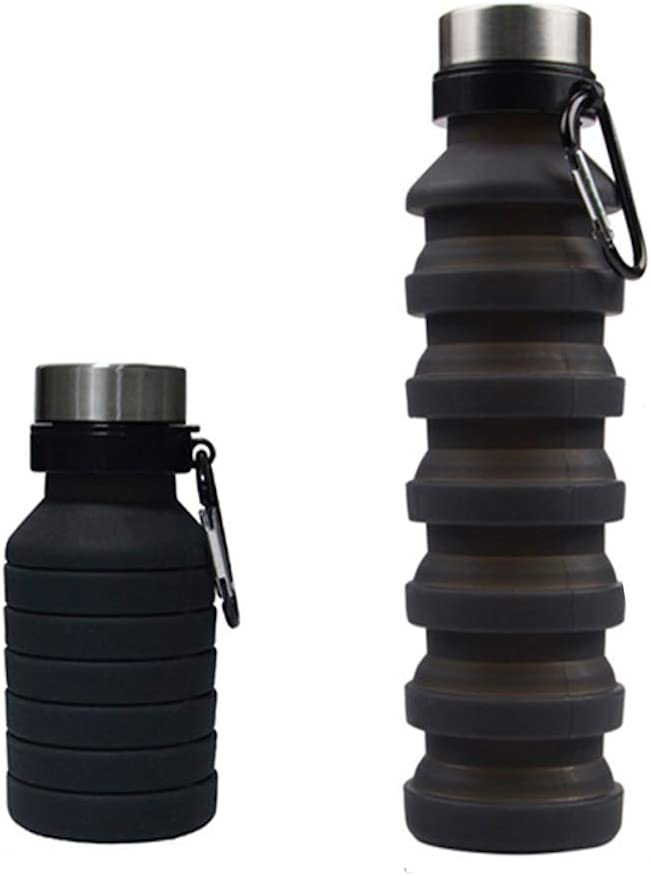 Capua Portable Water Bottle Collapsible and Foldable   Silicone Collapsible Water Container   BPA Free   Sport and Outdoors Hydration   Leak Proof with Carabiner (18oz) (Black)