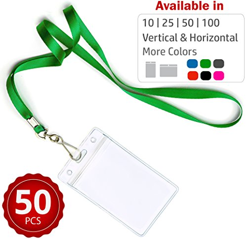 Durably Woven Lanyards & Vertical ID Badge Holders ~Premium Quality, Waterproof & Dustproof ~ for Moms, Teachers, Tours, Events, Businesses, Cruises & More (50 Pack, Green) by Stationery King -