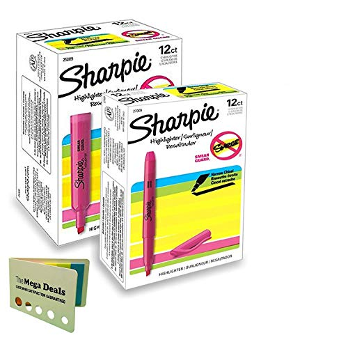 Sharpie Accent Highlighters, Fluorescent Pink, Chisel Tip, Smear Guard; 1 Dozen Tank Highlighters and 1 Dozen Pocket-Style Highlighters (Total of 24 Highlighters) | Includes 5 Color Bright Flag ()