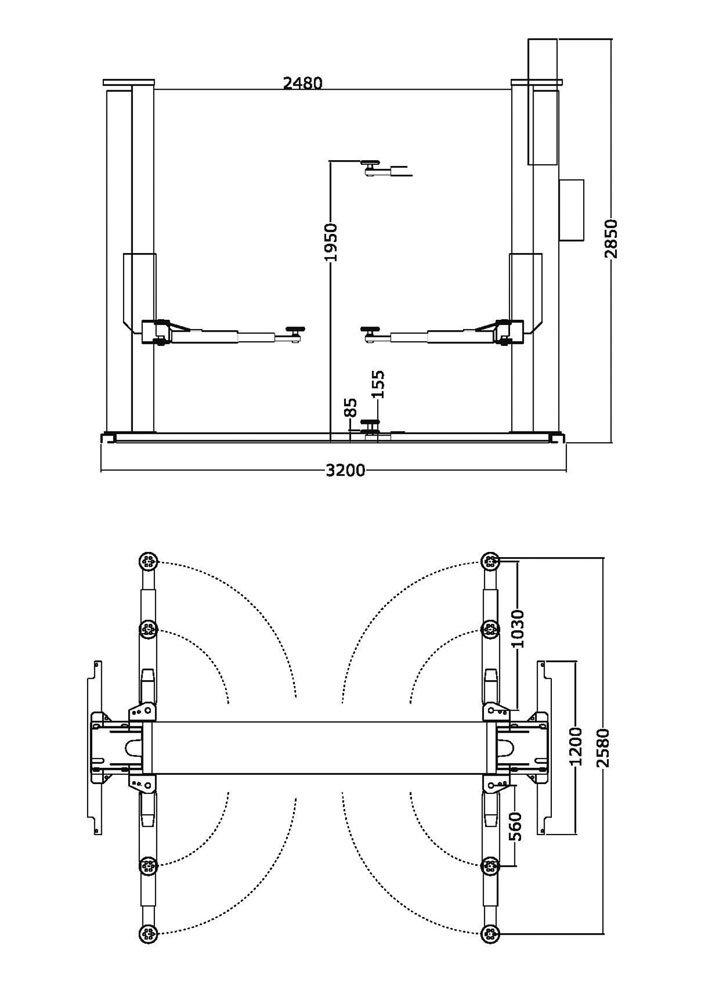 Ponte Sollevatore Auto 220v Elettroidraulico 2 Colonne