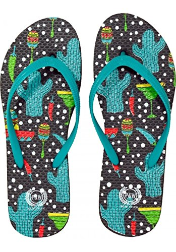 Beaute Fashion Trendy Tropical Print Flip Flops Desert Resort Travel Thong Sandal Slipper (Medium 7-8, Turquoise Cactus Tequila)